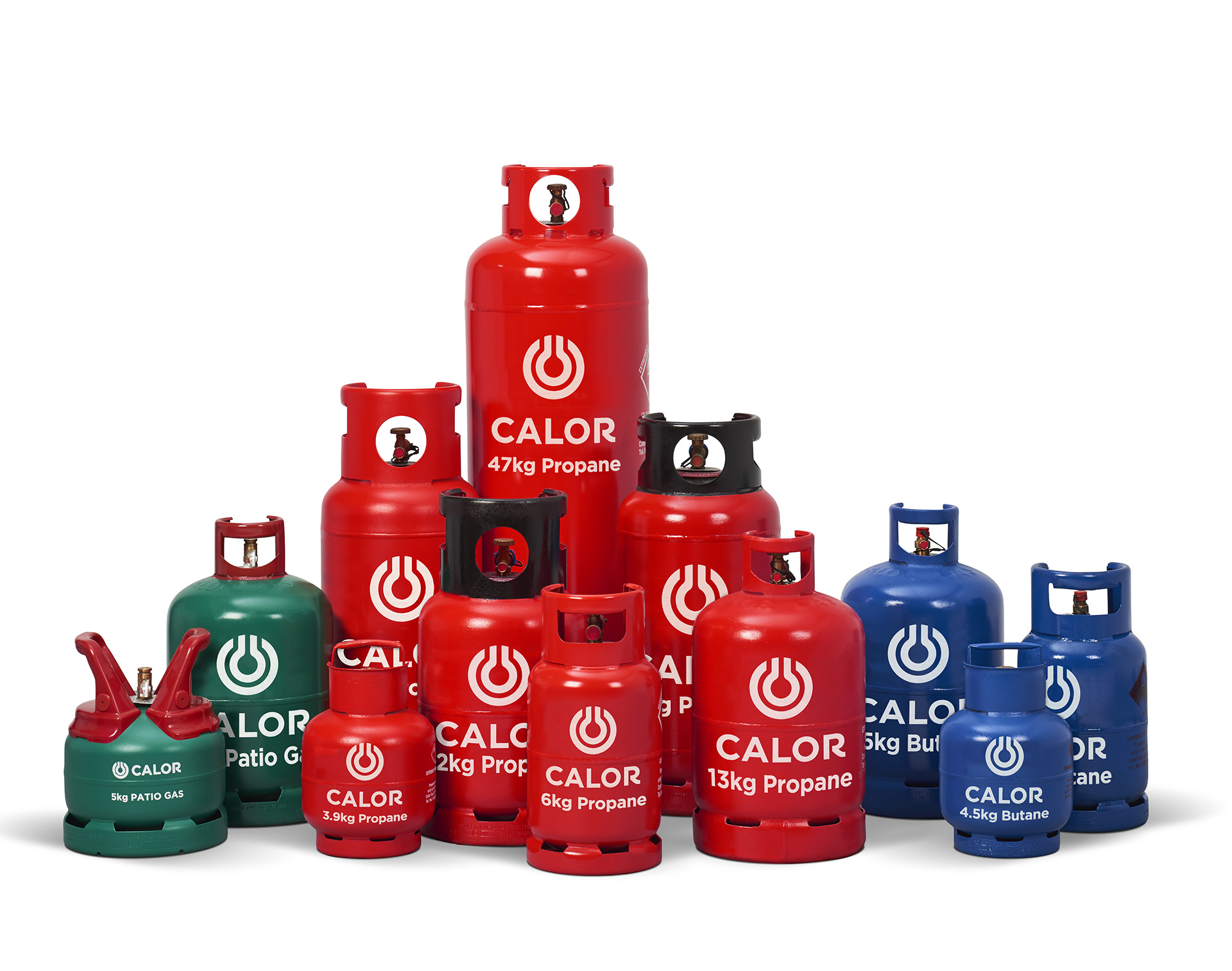A collection of propane, butane and patio Calor gas bottles