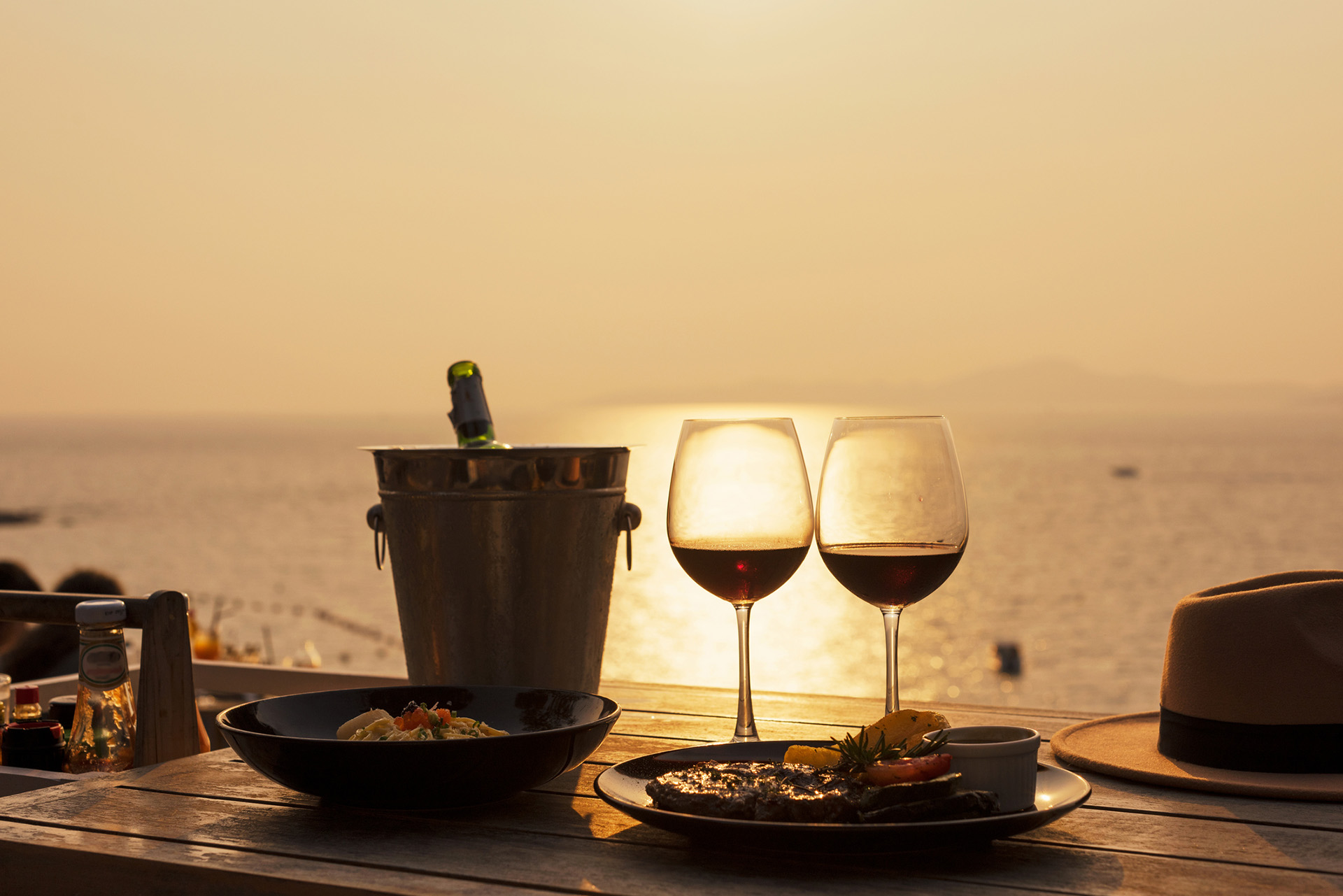 Outdoor dining for two during sunset