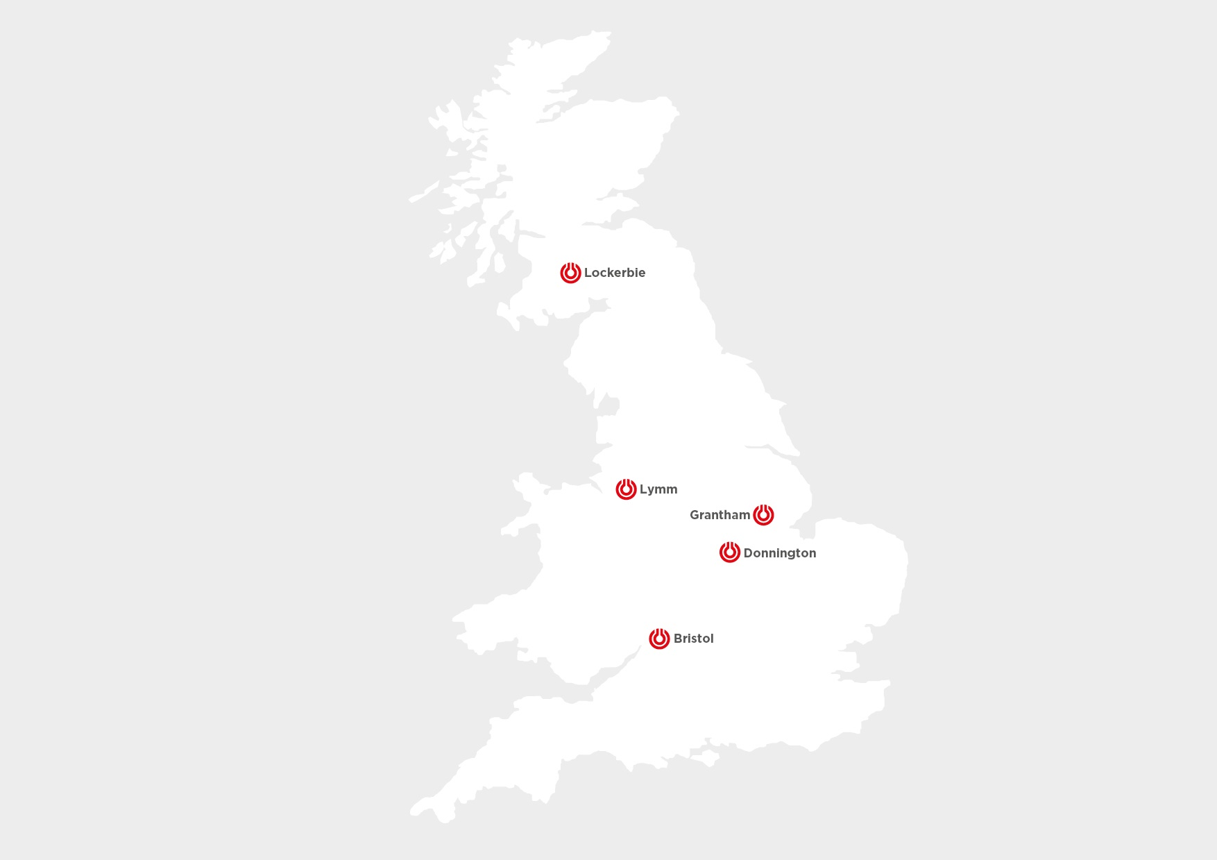 A UK map outlining the LNG refuelling stations