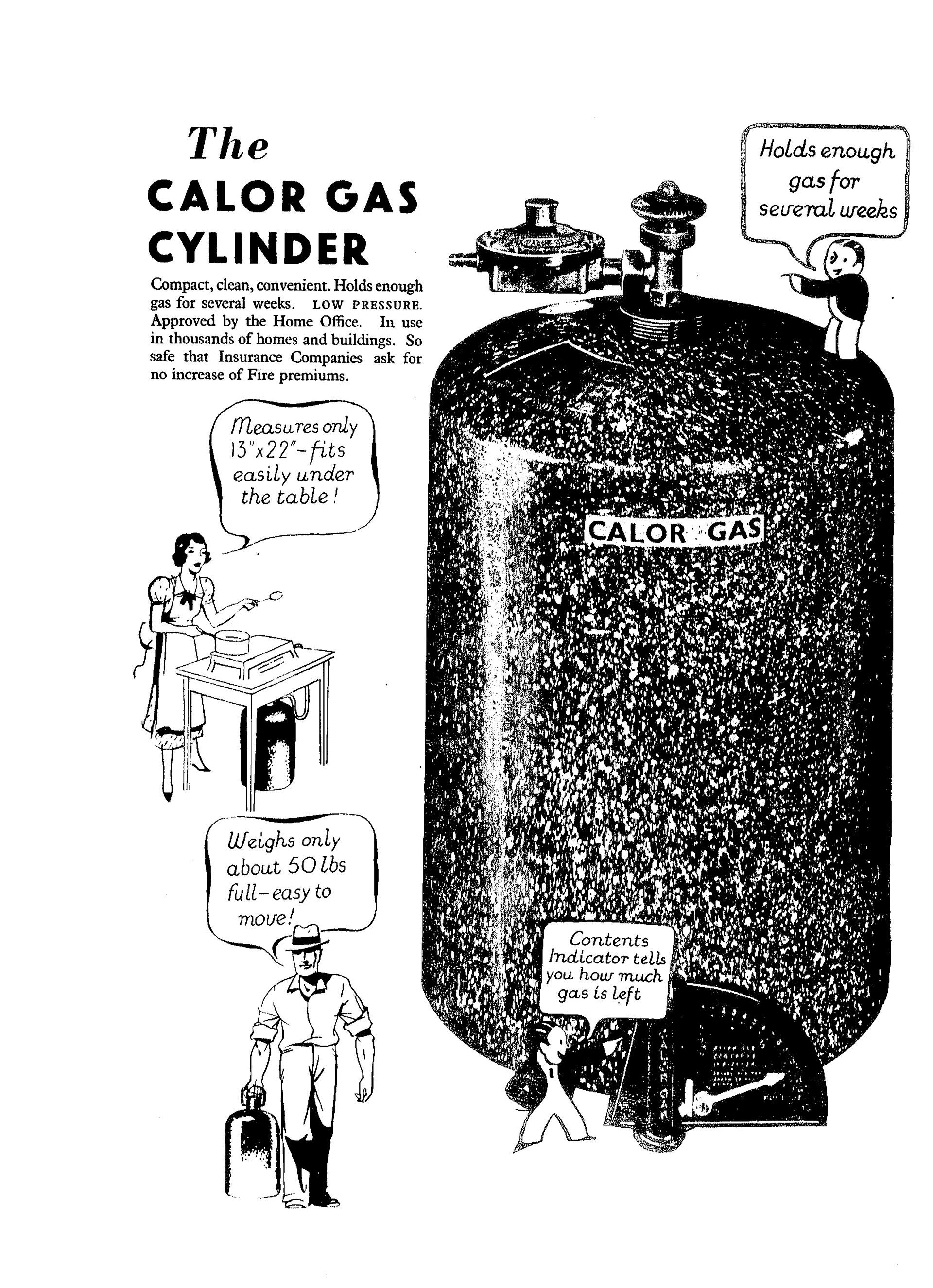 Black and white advertisement: 'The Calor Gas Cylinder'